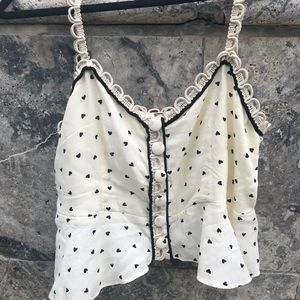Free People Heart Button Crop Top
